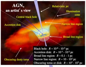 Figura 1: Representación artística de un núcleo activo de galaxia. En el gráfico dentro del círculo interior se muestra el disco de acreción del agujero negro. Las distancias estan pc=parsec, una unidad astrofísica usada por razones historicas igual a ~ 3 años luz.