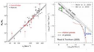 Figura 2: (a) La famosa relación M-σ que correlaciona la masa del agujero negro central con la dispersión de velocidades de otros elmentos de la galaxia, como las estrellas o el gas. (b) La muestra de la falta de galaxias de alta masa en las observaciones de galaxias elípticas, usando la luminosidad como indicador del contenido de estrellas en una galaxias. La distribución de objetos luminosos como funcion de la masa es graficada también.