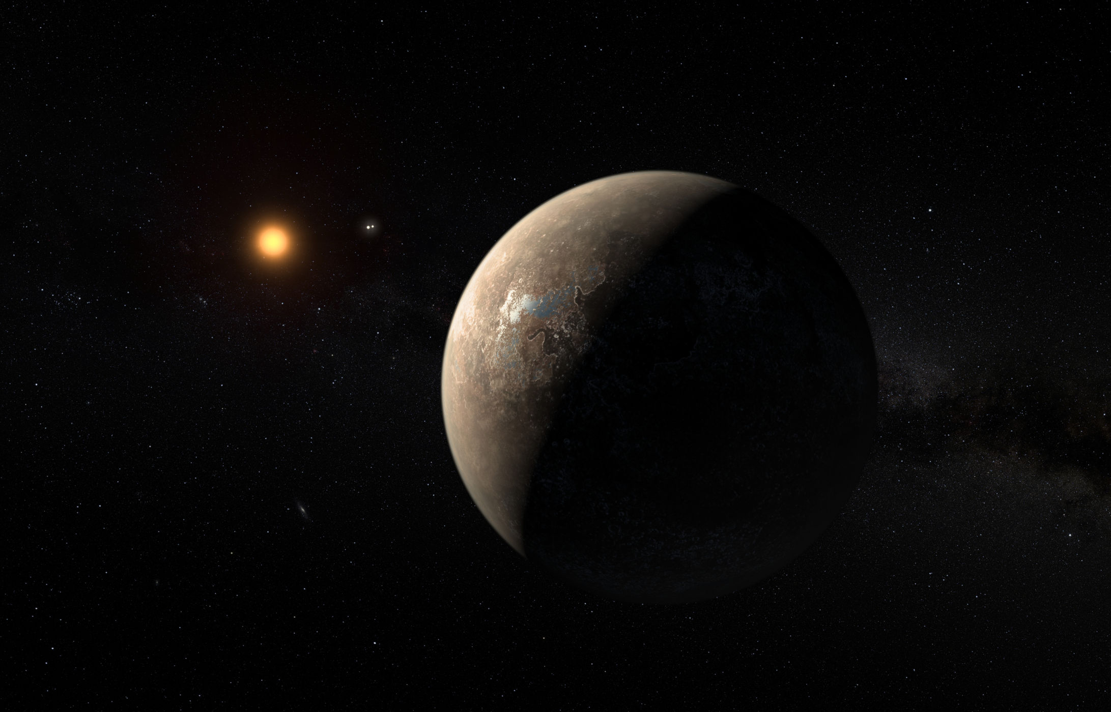 This artist's impression shows the exoplanet Proxima b, which orbits the red dwarf star Proxima Centauri. The double star Alpha Centauri AB appears in the image between the exoplanet and its star. Credit: ESO/M. Kornmesser