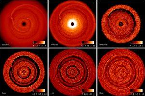Distribución de densidad del polvo en el disco protoplanetario para diferentes tamaños de granos de polvo.
