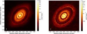 Comparación entre la observación del sistema HL Tau con el telescopio ALMA (izquierda), con las observaciones sintéticas (derecha).