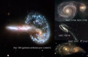 Mosaico de galaxias en colisión observadas por el Hubble Space Telescope.
