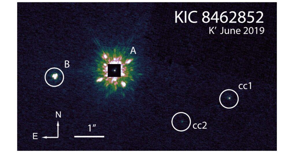 Cuatro formas más o menos circulares sobre fondo oscuro. A la izquierda, la más grande y otra mucho más pequeña de color blanco. A la derecha las otras dos, mucho más pequeñas y oscuras.