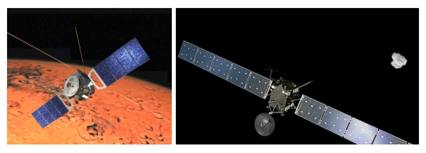 Dos sondas espaciales de forma muy similar. La parte central es un cubo del que sale una antena con un plato circular, mientras que a los lados se extienden dos largos paneles solares. Una tiene de fondo la superficie del planeta Marte, y la otra, el espacio y un cometa.